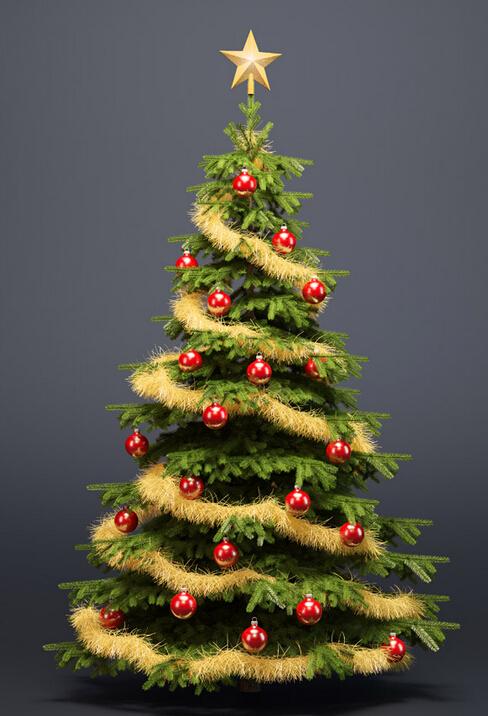 春节前要布置圣诞树,绿色的显得鲜艳,活跃